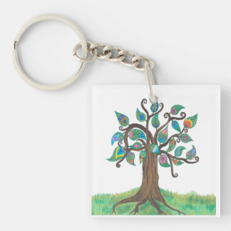 Whimsy Tree & Paisley Key Chain