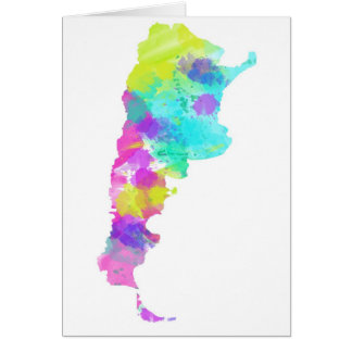 Whimsy Watercolor Argentina Map Card