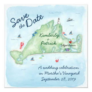 Whimsy Watercolor Wedding Map of Marthas Vineyard 13 Cm X 13 Cm Square Invitation Card