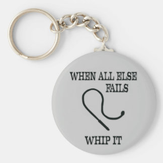 Whip it basic round button key ring