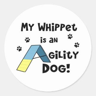 Whippet Agility Dog Round Sticker