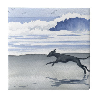 Whippet At The Beach Tile