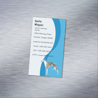 Whippet Blue Swirl magnetic Magnetic Business Cards