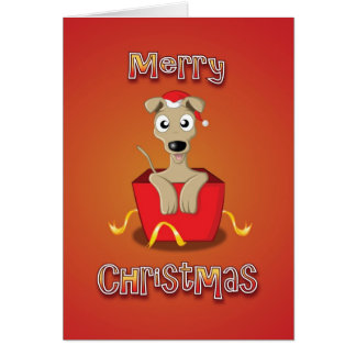 whippet - box - merry christmas greeting card