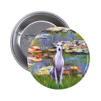 Whippet (brown-white) - Lilies 2 6 Cm Round Badge