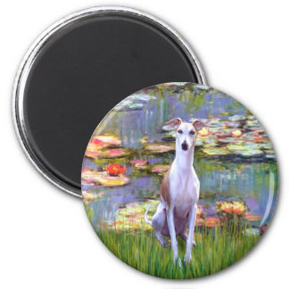 Whippet (brown-white) - Lilies 2 6 Cm Round Magnet
