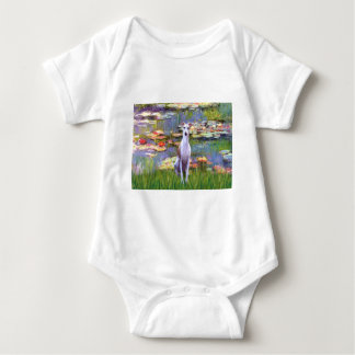 Whippet (brown-white) - Lilies 2 Baby Bodysuit