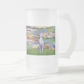 Whippet (brown-white) - Lilies 2 Frosted Glass Mug