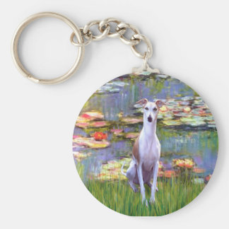 Whippet (brown-white) - Lilies 2 Basic Round Button Key Ring