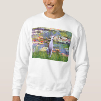Whippet (brown-white) - Lilies 2 Pull Over Sweatshirt