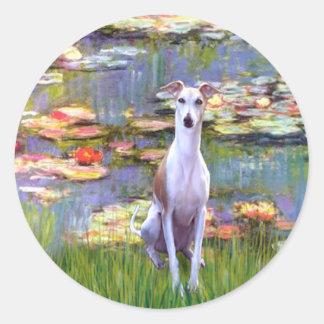 Whippet (brown-white) - Lilies 2 Round Sticker