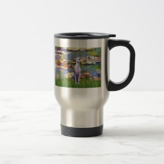 Whippet (brown-white) - Lilies 2 Stainless Steel Travel Mug
