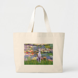 Whippet (brown-white) - Lilies 2 Jumbo Tote Bag