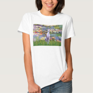 Whippet (brown-white) - Lilies 2 Tshirts