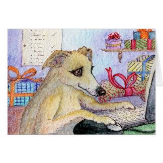 Whippet Christmas shopping online Greeting Card