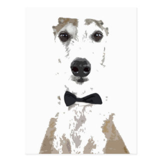whippet cut out design in bow tie postcard