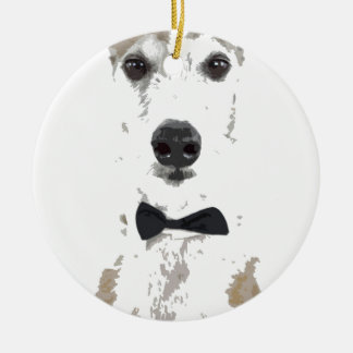 whippet cut out design in bow tie round ceramic decoration