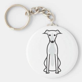 Whippet Dog Cartoon Basic Round Button Key Ring