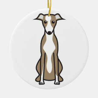 Whippet Dog Cartoon Christmas Ornament