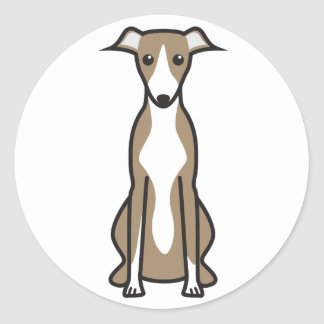 Whippet Dog Cartoon Classic Round Sticker
