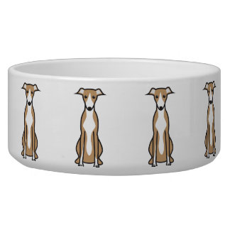 Whippet Dog Cartoon Dog Water Bowl