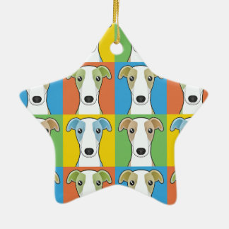 Whippet Dog Cartoon Pop-Art Christmas Ornament