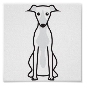 Whippet Dog Cartoon Poster