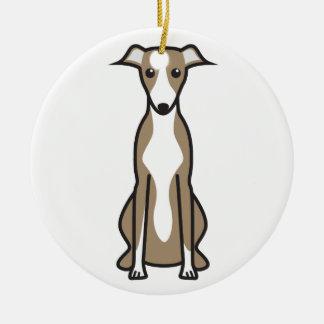 Whippet Dog Cartoon Round Ceramic Decoration