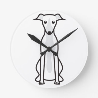 Whippet Dog Cartoon Round Clock