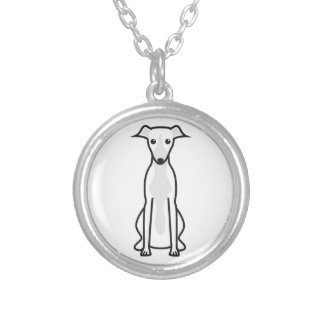 Whippet Dog Cartoon Silver Plated Necklace