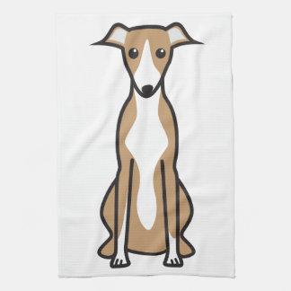 Whippet Dog Cartoon Tea Towel