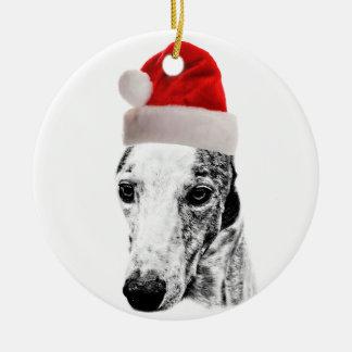 Whippet dog round ceramic decoration
