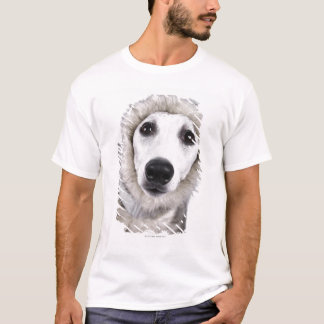 Whippet dog wearing fur coat, studio shot T-Shirt
