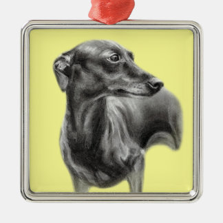 Whippet Drawing Christmas Ornament