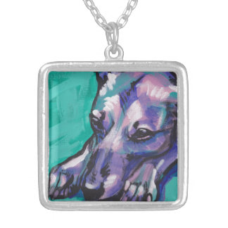 Whippet greyhound Bright Colorful Pop Dog Art Square Pendant Necklace