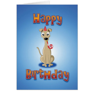 whippet - hat&whistle - happy birthday greeting card