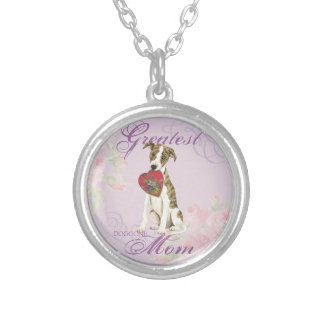 Whippet Heart Mom Silver Plated Necklace