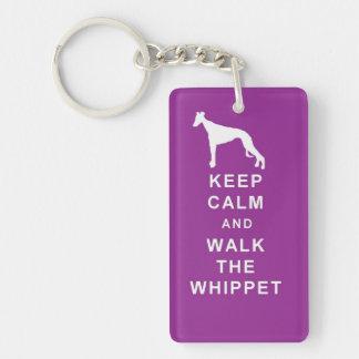 WHIPPET Keep Calm Walk Keyring birthday Single-Sided Rectangular Acrylic Key Ring