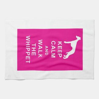 Whippet Keep Calm Walk the whippet tea towel