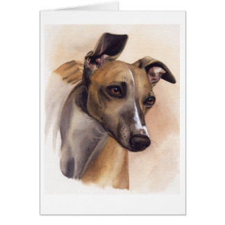 Whippet Painted in Watercolour Greeting Card