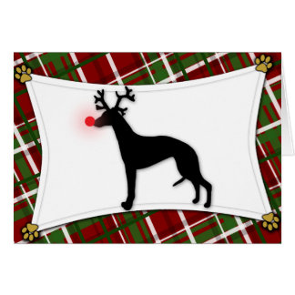 Whippet Reindeer Christmas Card