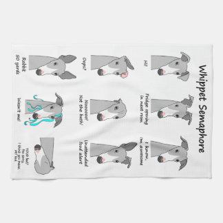 Whippet Semaphore Tea Towel