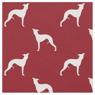 Whippet Silhouettes Pattern Red Fabric