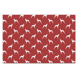 Whippet Silhouettes Pattern Red Tissue Paper