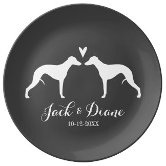 Whippet Silhouettes with Heart and Text Plate