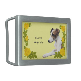 Whippet with Yellow Roses Belt Buckles