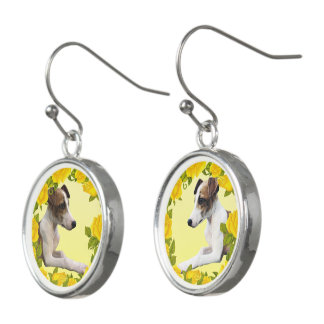 Whippet with Yellow Roses Earrings
