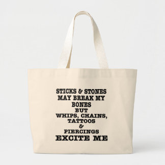 Whips Chains Tattoos & Piercings Excite Me Jumbo Tote Bag