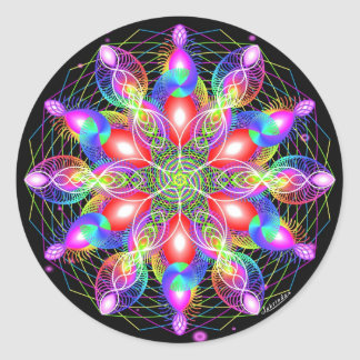 Whirling Rainbow Woman Round Sticker