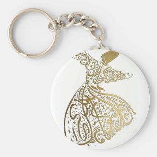 Whirling Sufi Dervish Basic Round Button Key Ring